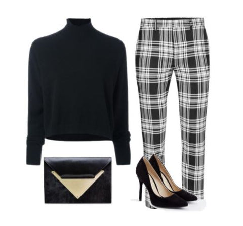 Dareen Hakim Plaid Slacks Office Look