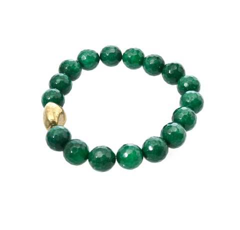The Gold Nugget Amongst the Forest Green Beads Defines This Holly Zaves Beaded Bracelet