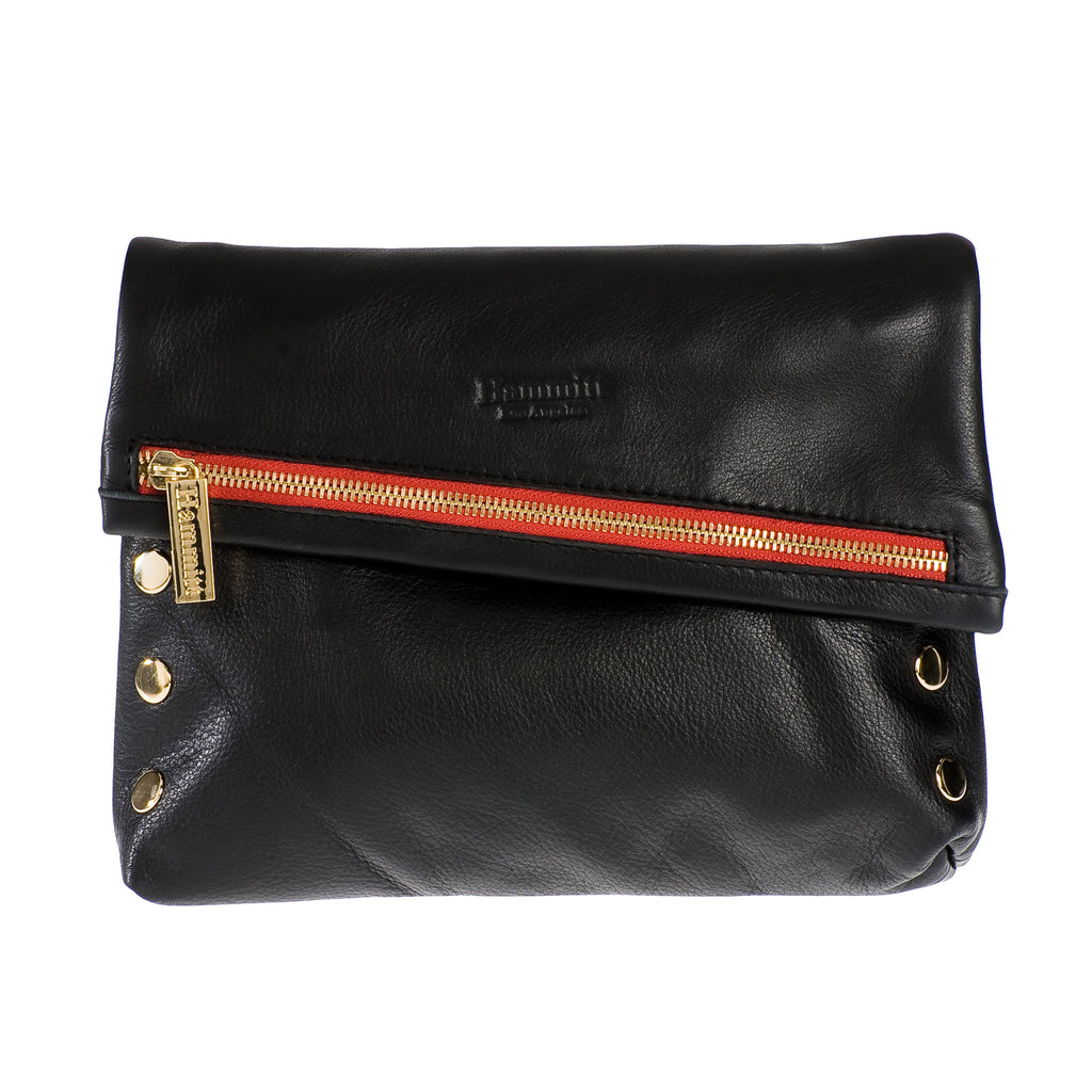 Hammitt Los Angeles The Viper: Black American Leather Crossbody Handbag with Gold Hardware