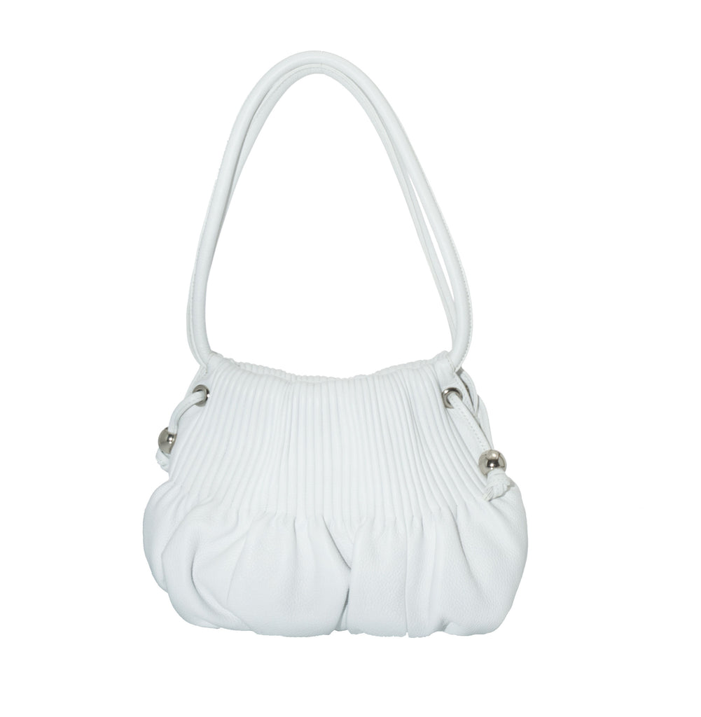 Bodhi Small Pebble Hobo Bag in White
