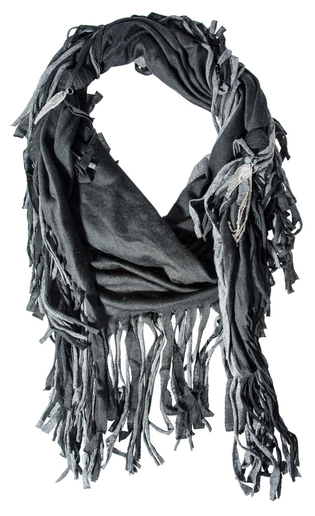 Donni Charm Fringe Scarf in Black & Charcoal with Silver Wing and Tassel