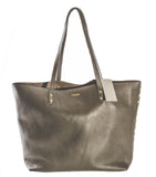 Pietro Alessandro Unlined Studded Tote in Charcoal Grey Pebble Grain Leather