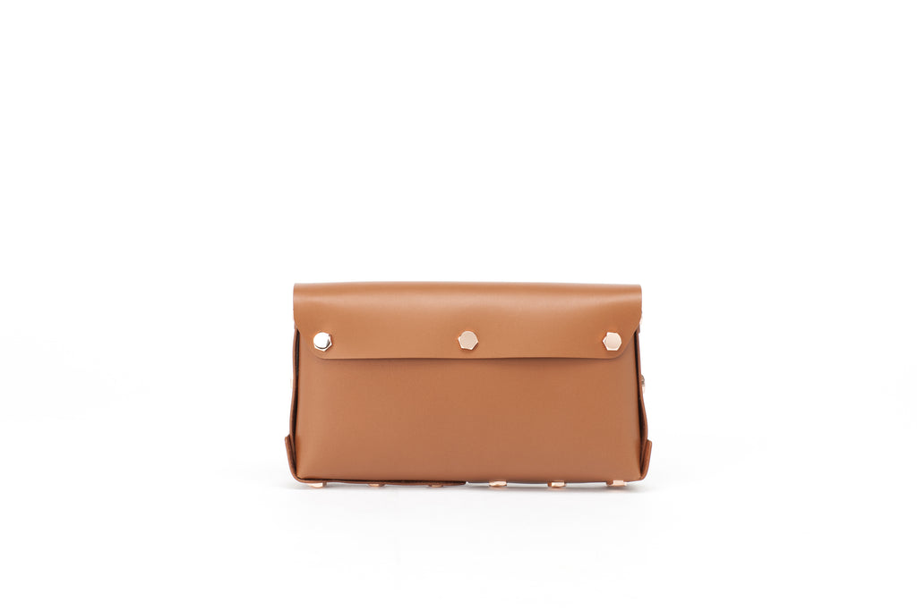 Asmbly Brown Leather Clutch Reverse