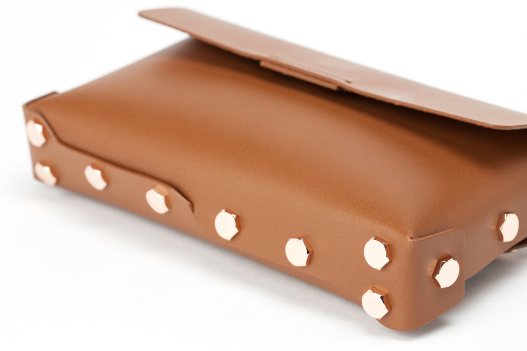 Asmbly Designer Clutch in Brown Leather with Rose Gold Feet
