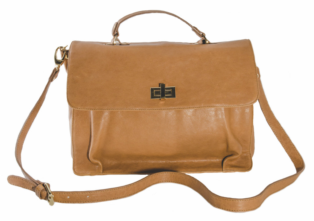 Pietro Alessandro Tan Lamb Leather Crossbody Handbag