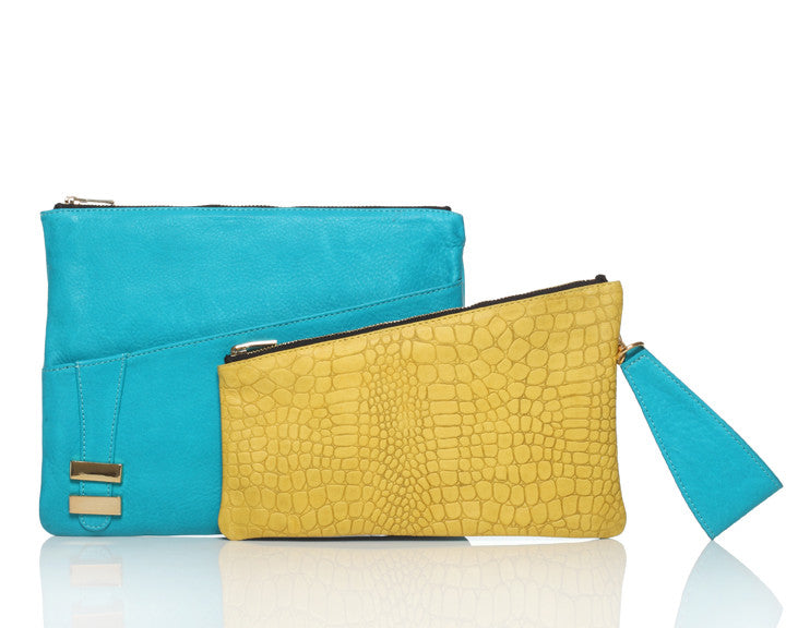 Alexandra Satine, Teal, Aqua, Yellow, Crossbody, Handbag, Clutch, wristlet