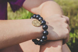 Holly Zaves Black Beaded Bracelet with TB Cross