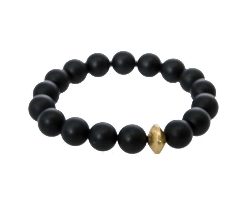 Sisco Berluti Black Matte Round Beaded Bracelet with Gold Disc Accent