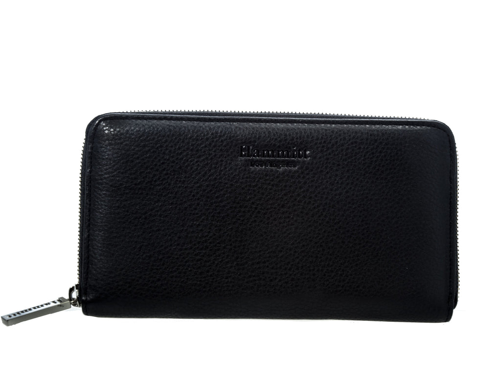 Hammit Los Angeles 405 large Black Leather Wallet with Silver Hardware