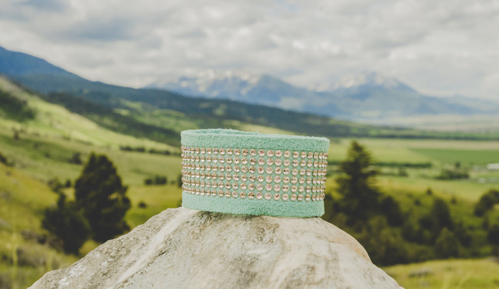Mint Suede Leather Bracelet with Silk Swarovski Crystals cuff to be stacked or worn single