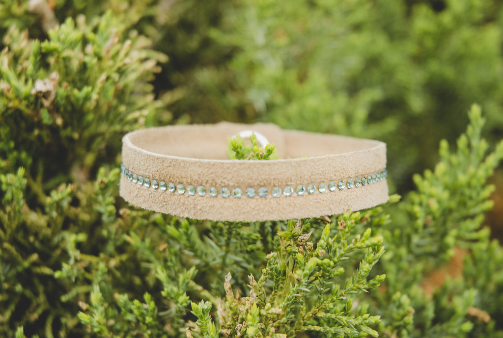 Dogwood Leather with Aquamarine Swarovski Crystal Simple Rustic Leather Bracelet
