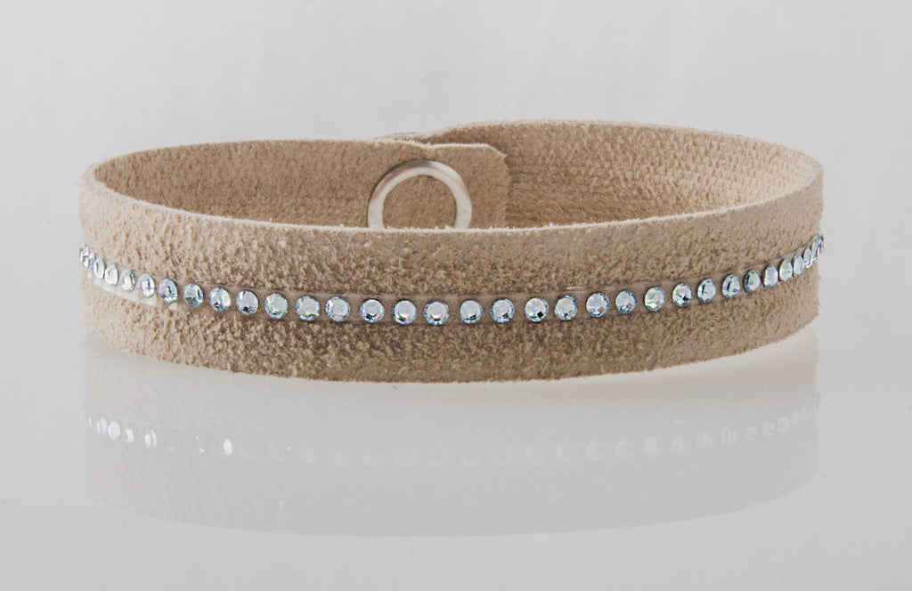 HT Leather Goods Callender Street Leather Bracelet Dogwood Suede with Swarovski Crystals