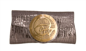 Dareen Hakim Le Icon Clutch Slate Croc Italian Leather