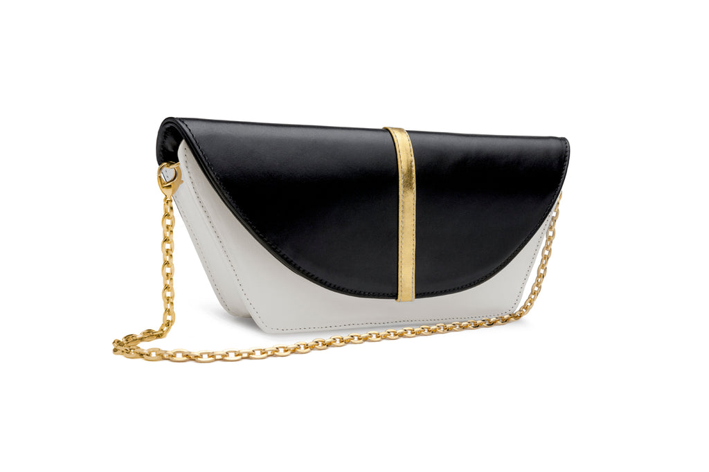 feNa woman's black and white Italian leather 3-way clutch