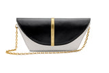 feNa women's black and white Italian leather 3-way shoulder bag