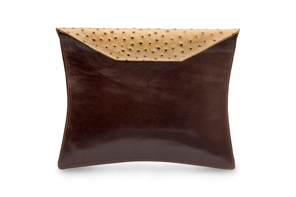 feNa slim brown leather square clutch