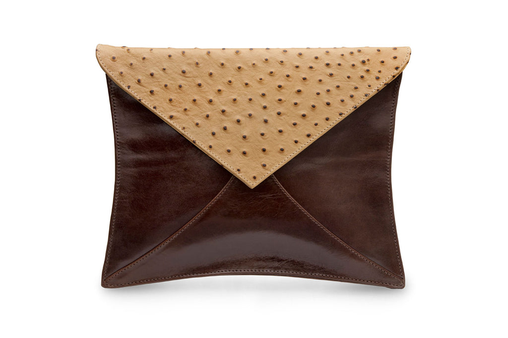 feNa embossed two-tone leather envelope clutch