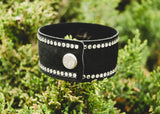 Black Suede Leather Cuff with large and small genuine Swarovski Crystals and snap enclosure