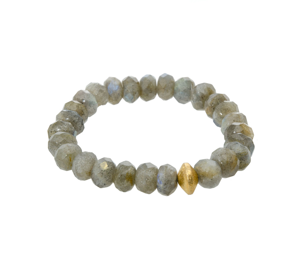 Sisco Berluti Grey Faceted Rondelle Beaded Bracelet with Gold Disc Accent