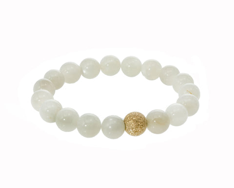 Sisco + Berluti Beaded Bracelet - Grey Faceted Rondelle Beads with Gold Disc Accent