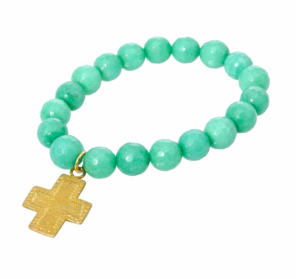 Holly Zaves Deep Turqoise Beaded Charm Bracelet with Gold Cross
