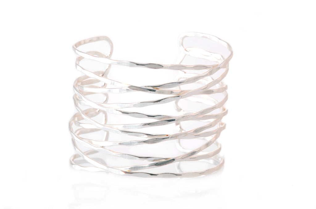 Karine Sultan Textured Overlapping Thin Bars Cuff - Silver