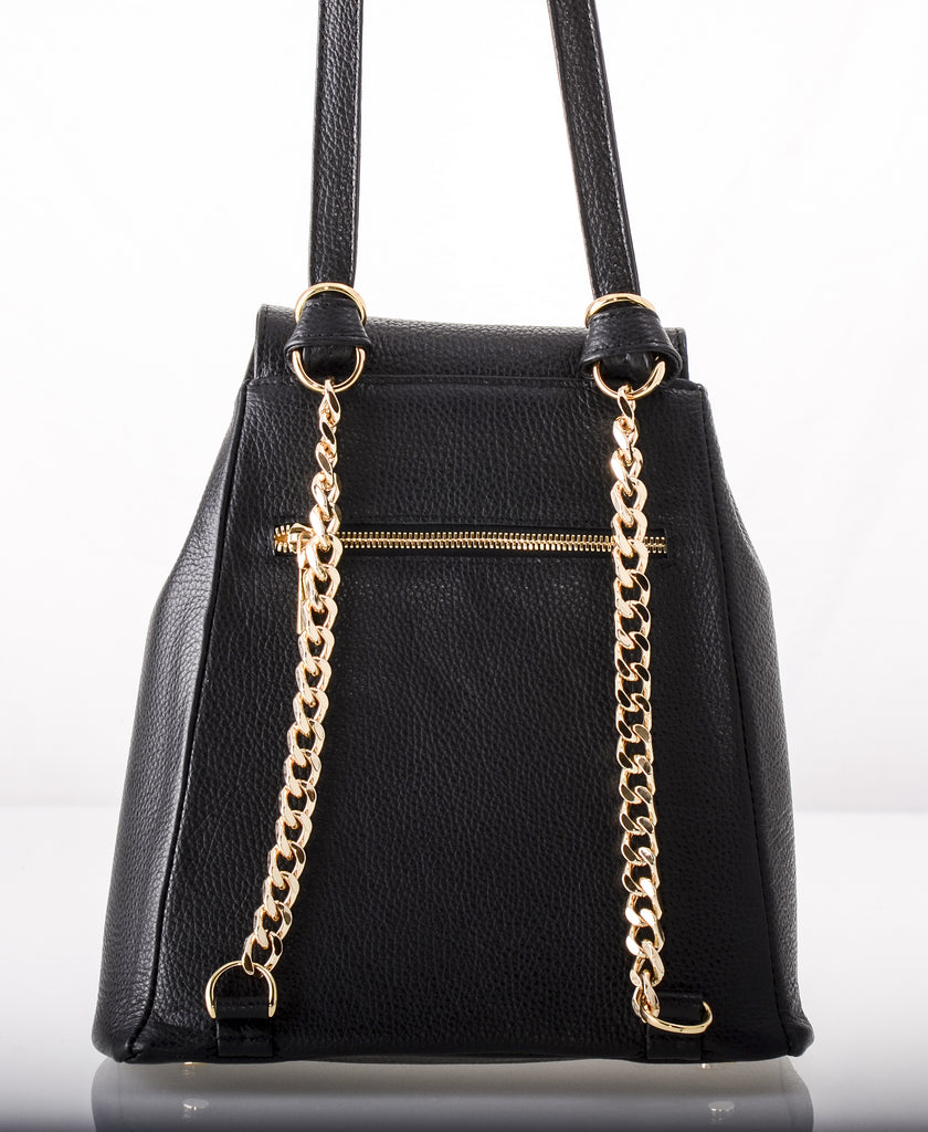 You'll want our Mixed Material Kyla Joy Leather Convertible Backpack or Crossbody with Gold zipper chain hardware