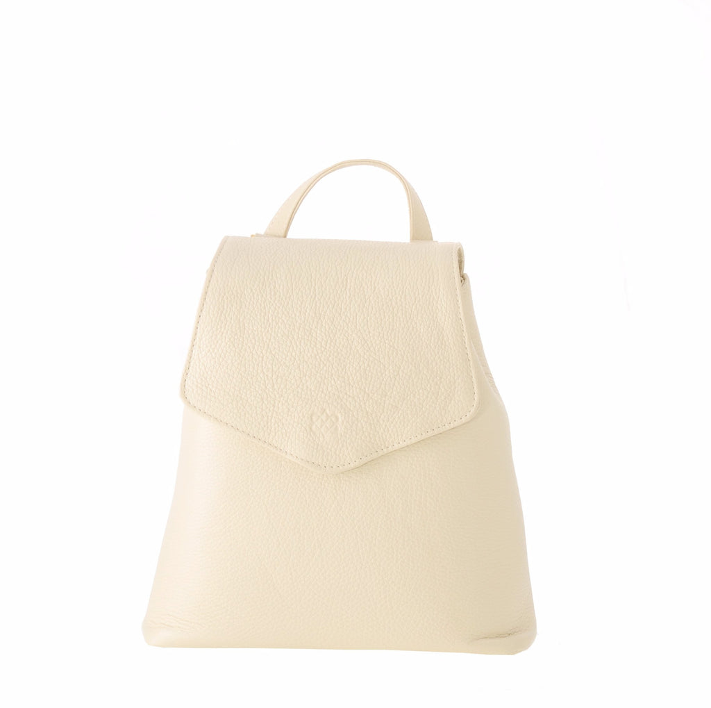 Our popular Kyla Joy Designer White Italian Leather Backpack Crossbody Handbag