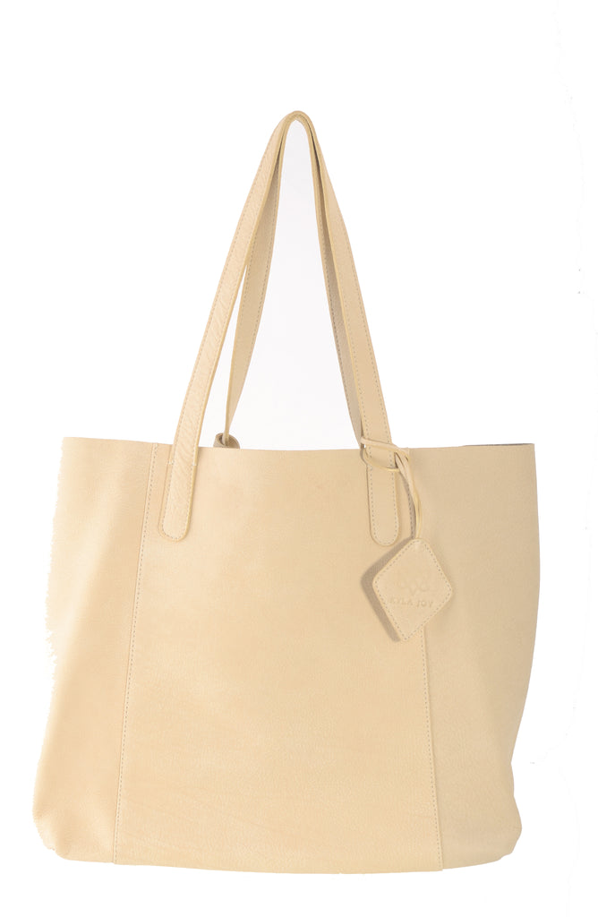 Kyla Joy Tote Bag in Beautiful Suede Like Cream Colored Leather