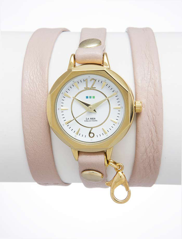 La Mer Collections Gold Del Mar Watch in Blush