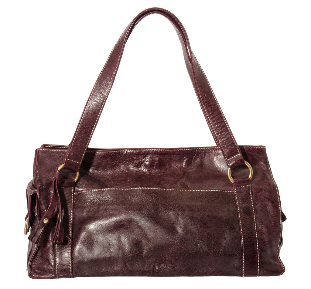 Marnie Bugs Versatile Sleek handbag, Marnie Bugs Eggplant Leather shoulder purse