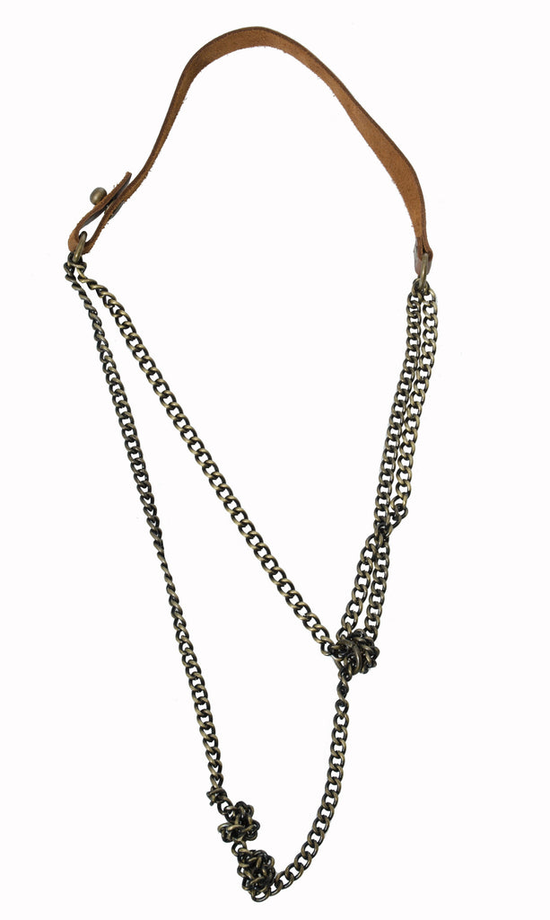 Jo Handbags Leather Chain Knotted Necklace