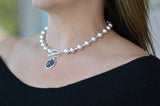 Classy & Sophisticated Retro Charm Necklace in Sterling Silver by Karine Sultan