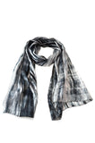 Black and Ivory 100% Hand Dyed Silk Scarf by Lua naturally made