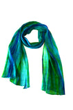 100% Silk Hand Dyed Lua Scarf - Blue/Kelp (Green)