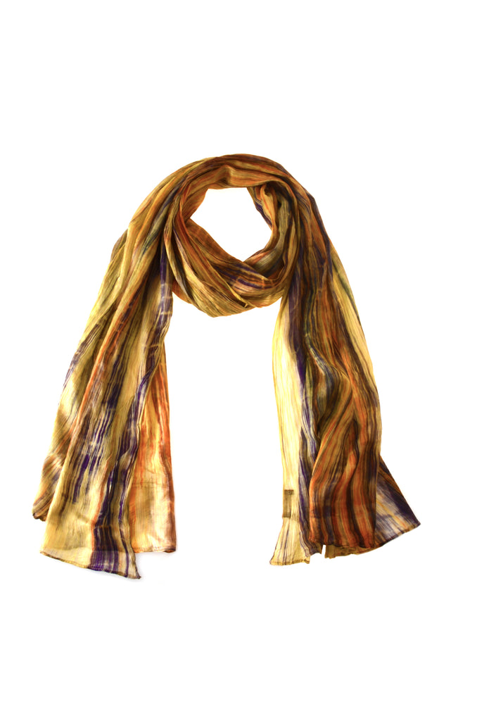 Naturally Handmade Silk Scarf by Lua - Cream/Dark Purple