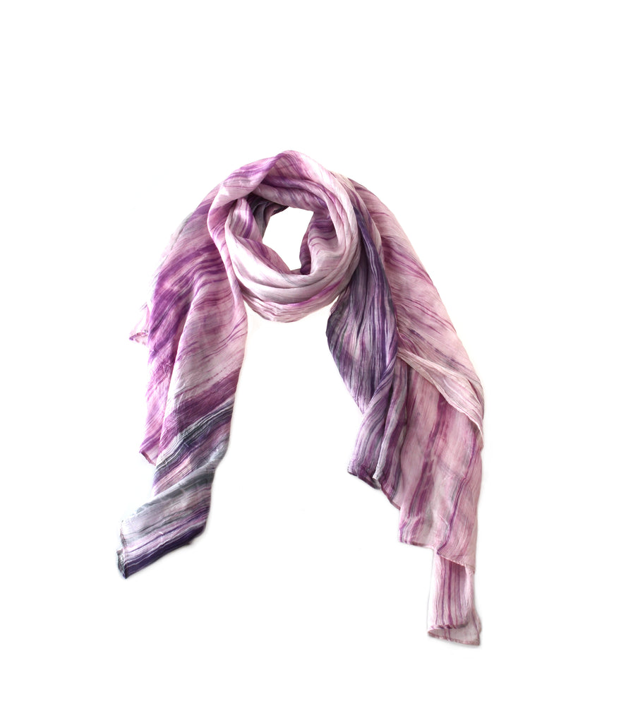 Hand Dyed Silk Scarf by Lua in Purple and Dark Grey