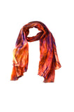 Lua natrually handmade watercolor scarf - Terracotta/Purple