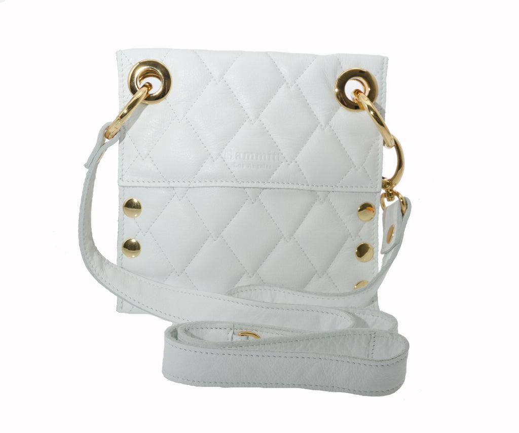 Hammitt Los Angeles Mini Montana Quilted White Handbag with Gold Hardware