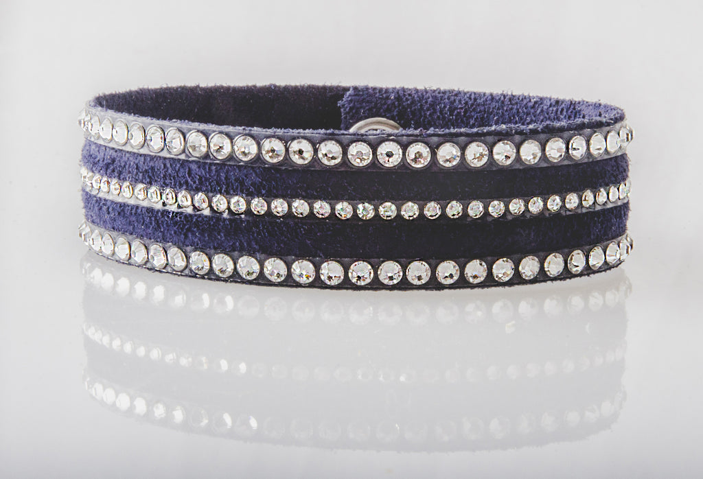 HT Leather Goods Paradise Bracelet Navy Suede Leather with Genuine Clear Swarovski Crystals