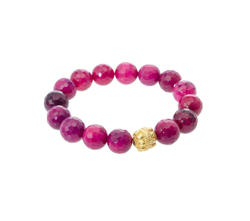 Sisco Berluti Faceted Round Beaded Bracelet with Gold Filigree Accent