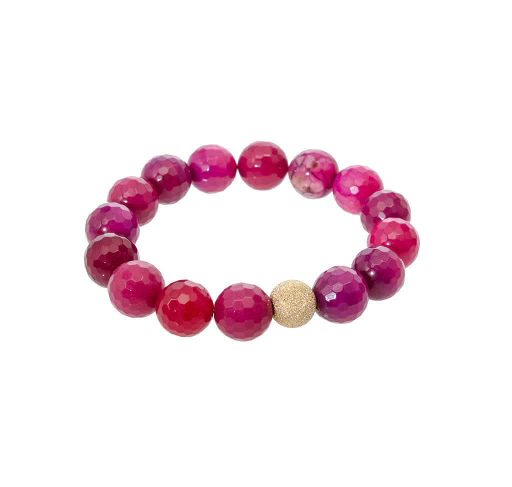 Sisco Berluti Faceted Round Beaded Bracelet with Gold Stardust Accent
