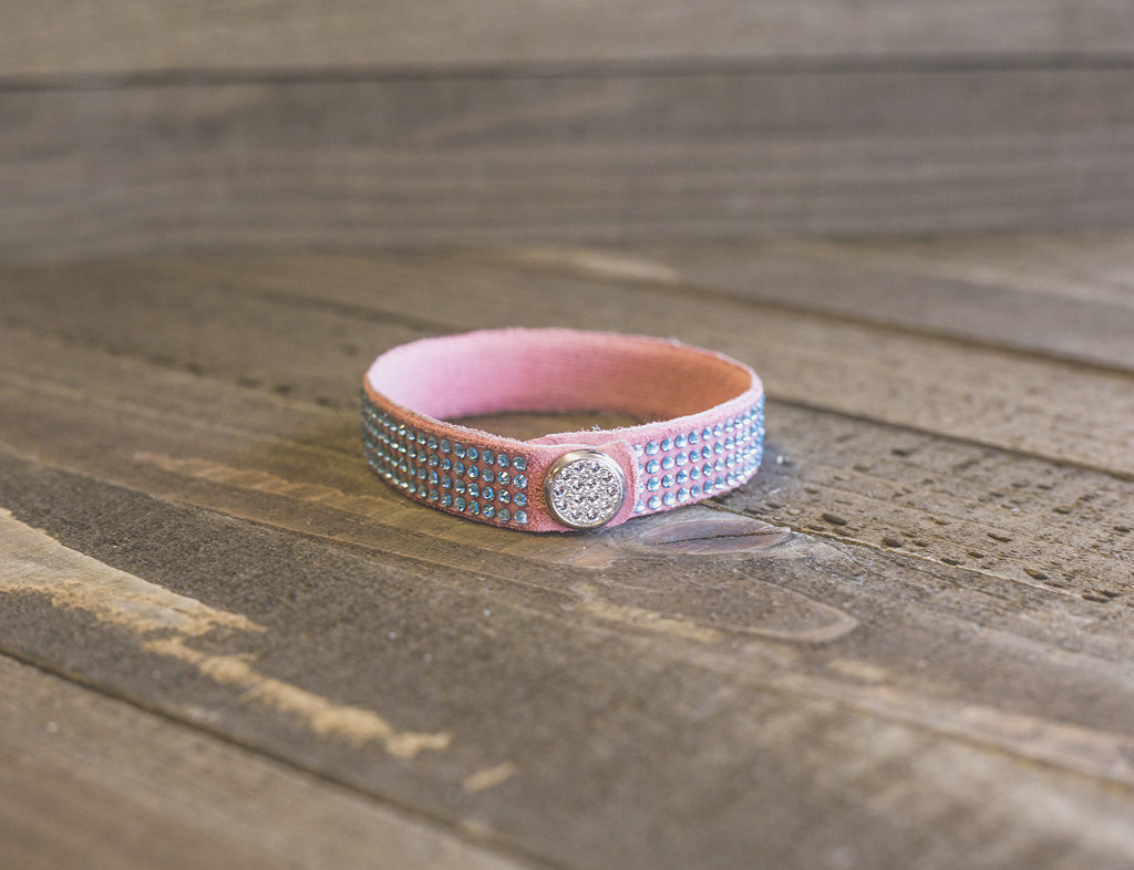 Dusty Rose Suede leather Stacking Cuff with Blue Genuine Swarovski Crystals Feminine and Unique Jewelry