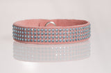 HT Leather Goods Rose Crown Leather Bracelet with auquamarine Swarovski Crystals
