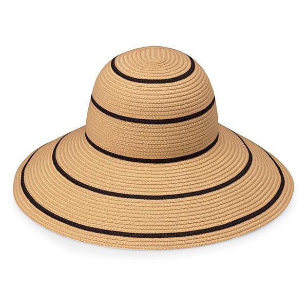 Wallaroo Hat Company Savannah Brim Hat: Camel/Black Stripes