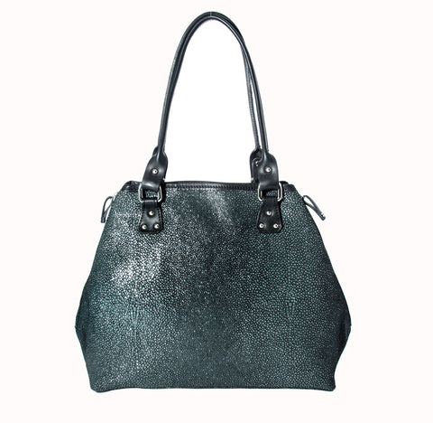 Pietro Alessandro Unlined Pebble Grain Studded Leather Tote in Charcoal Gray