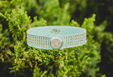 Mint Suede Suede Leather Bracelet with snap closure and genuine Swarovski crystals