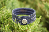 Navy Blue Suede Leather Snap Bracelet with Black Crystals