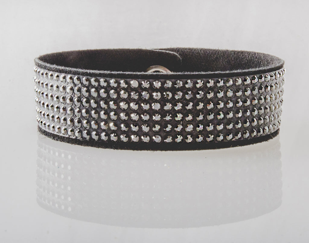 HT Leather Goods Mill Creek Leather Bracelet Black Suede and Genuine Swarovski Crystals