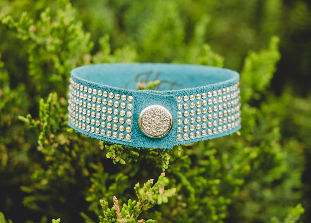 HT Leather Goods Sterling Handcrafted Leather Bracelet with Genuine Swarovski Crystals